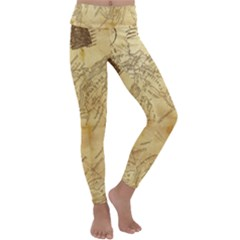 Vintage Map Background Paper Kids  Lightweight Velour Classic Yoga Leggings
