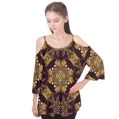 Gold Black Book Cover Ornate Flutter Tees