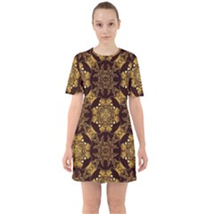 Gold Black Book Cover Ornate Sixties Short Sleeve Mini Dress