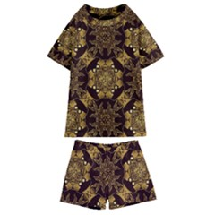 Gold Black Book Cover Ornate Kids  Swim Tee And Shorts Set by Pakrebo