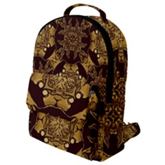 Gold Black Book Cover Ornate Flap Pocket Backpack (small) by Pakrebo