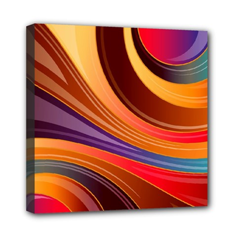Abstract Colorful Background Wavy Mini Canvas 8  X 8  (stretched) by Pakrebo