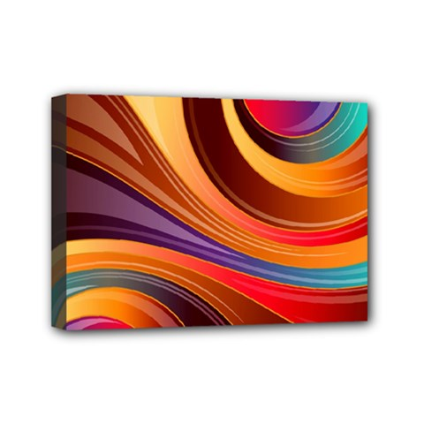 Abstract Colorful Background Wavy Mini Canvas 7  X 5  (stretched)