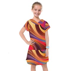 Abstract Colorful Background Wavy Kids  Drop Waist Dress
