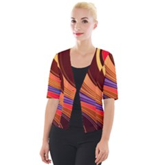Abstract Colorful Background Wavy Cropped Button Cardigan