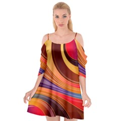 Abstract Colorful Background Wavy Cutout Spaghetti Strap Chiffon Dress