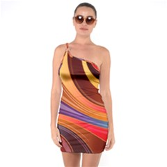 Abstract Colorful Background Wavy One Soulder Bodycon Dress