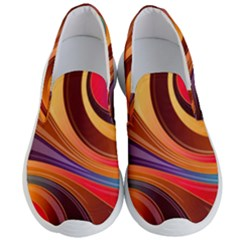 Abstract Colorful Background Wavy Men s Lightweight Slip Ons by Pakrebo
