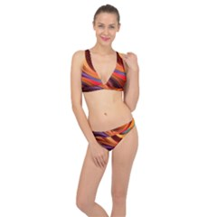 Abstract Colorful Background Wavy Classic Banded Bikini Set