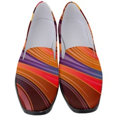 Abstract Colorful Background Wavy Women s Classic Loafer Heels