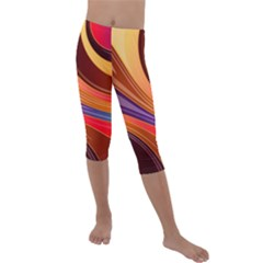 Abstract Colorful Background Wavy Kids  Lightweight Velour Capri Leggings