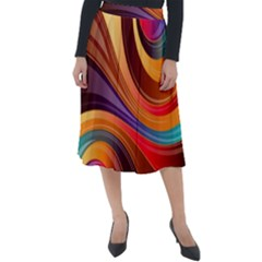 Abstract Colorful Background Wavy Classic Velour Midi Skirt