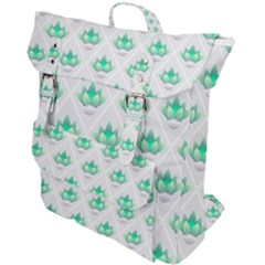 Plant Pattern Green Leaf Flora Buckle Up Backpack by Pakrebo