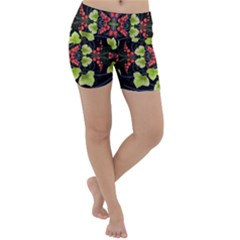 Pattern Berry Red Currant Plant Lightweight Velour Yoga Shorts