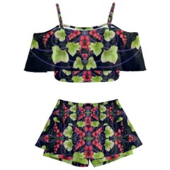 Pattern Berry Red Currant Plant Kids  Off Shoulder Skirt Bikini