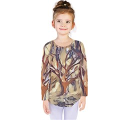 Tree Forest Woods Nature Landscape Kids  Long Sleeve Tee