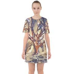 Tree Forest Woods Nature Landscape Sixties Short Sleeve Mini Dress