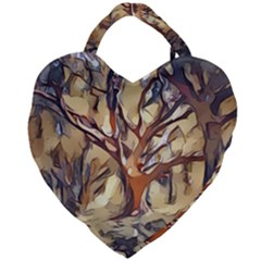 Tree Forest Woods Nature Landscape Giant Heart Shaped Tote