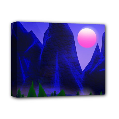 Mountains Dawn Landscape Sky Deluxe Canvas 14  X 11  (stretched) by Pakrebo