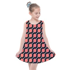 Between Circles Black And Coral Coral Kids  Summer Dress by TimelessFashion