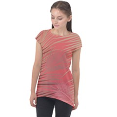 Palms Shadow On Living Coral Cap Sleeve High Low Top