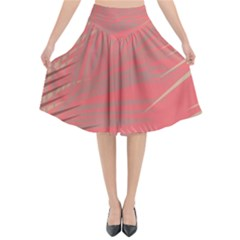 Palms Shadow On Living Coral Flared Midi Skirt by LoolyElzayat