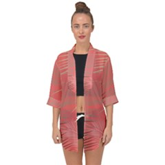 Palms Shadow On Living Coral Open Front Chiffon Kimono