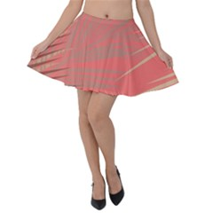 Palms Shadow On Living Coral Velvet Skater Skirt
