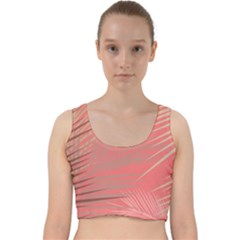 Palms Shadow On Living Coral Velvet Racer Back Crop Top