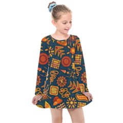 Pattern Background Ethnic Tribal Kids  Long Sleeve Dress