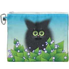Kitten Black Furry Illustration Canvas Cosmetic Bag (xxxl)