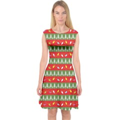 Christmas Papers Red And Green Capsleeve Midi Dress