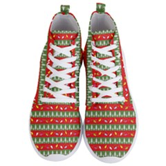 Christmas Papers Red And Green Men s Lightweight High Top Sneakers by Pakrebo