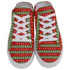 Christmas Papers Red And Green Half Slippers