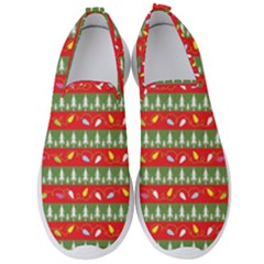 Christmas Papers Red And Green Men s Slip On Sneakers