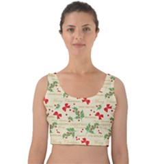 Christmas Paper Scrapbooking Velvet Crop Top