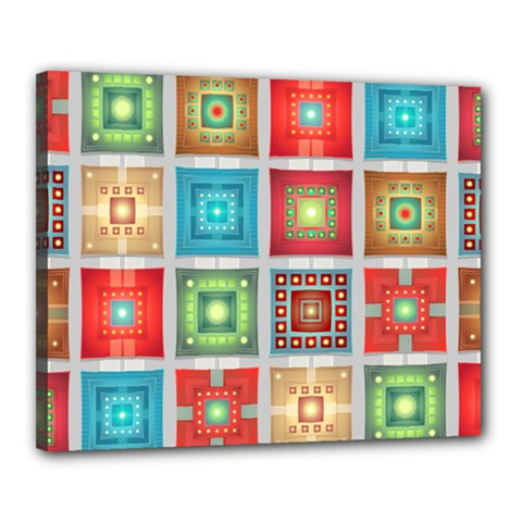 Tiles Pattern Background Colorful Canvas 20  X 16  (stretched) by Pakrebo