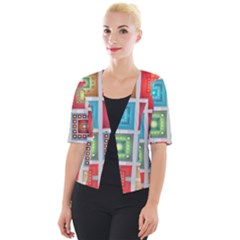 Tiles Pattern Background Colorful Cropped Button Cardigan