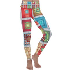 Tiles Pattern Background Colorful Kids  Lightweight Velour Classic Yoga Leggings