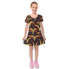 Stylised Horns Black Pattern Kids  Short Sleeve Velvet Dress