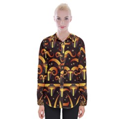 Stylised Horns Black Pattern Womens Long Sleeve Shirt