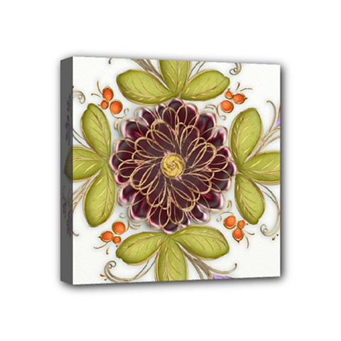 Flowers Decorative Flowers Pattern Mini Canvas 4  X 4  (stretched)