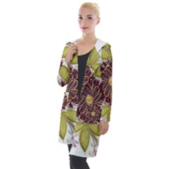 Flowers Decorative Flowers Pattern Hooded Pocket Cardigan