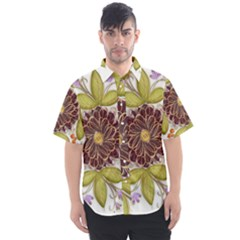 Flowers Decorative Flowers Pattern Men s Short Sleeve Shirt