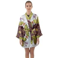 Flowers Decorative Flowers Pattern Long Sleeve Kimono Robe