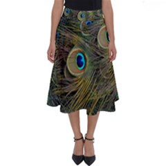 Peacock Tail Feathers Close Up Perfect Length Midi Skirt by Pakrebo