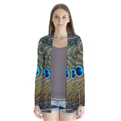 Peacock Tail Feathers Close Up Drape Collar Cardigan by Pakrebo
