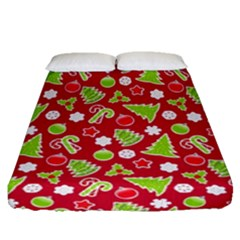 Christmas Paper Scrapbooking Pattern Fitted Sheet (queen Size)