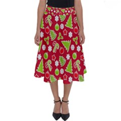 Christmas Paper Scrapbooking Pattern Perfect Length Midi Skirt