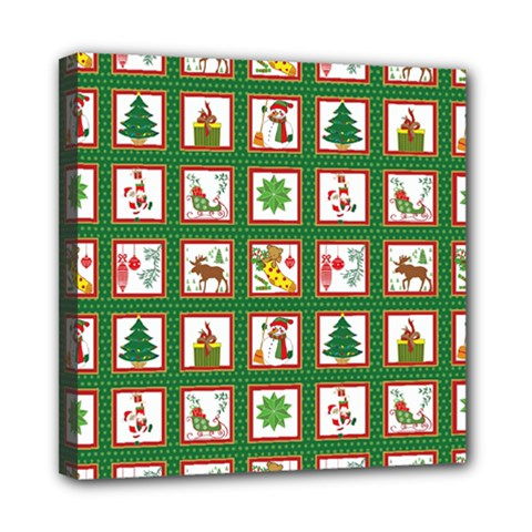 Christmas Paper Christmas Pattern Mini Canvas 8  X 8  (stretched) by Pakrebo
